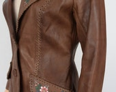 Vintage 1970's CHAR Hand Painted Flower Leather HiPPiE BoHo Western Couture Jacket Size S M 10