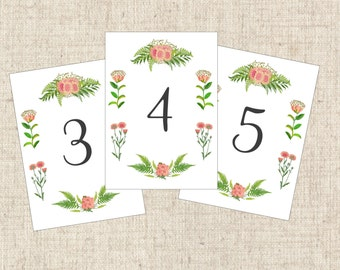 Vintage Table Card Numbers with Pink Floral Botanical Design, Pink Vintage Table Cards, Floral Wedding Table Numbers, Botanical Table Cards