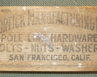 Antique Wooden Advertising Box- For TELEPHONE LINEMAN HARDWARE- Circa 1930's- Heavy Duty