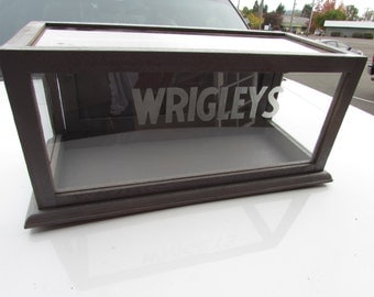 Nice WRIGLEY'S GUM Display Case Cabinet-Etched Glass Showcase= Reclaimed Wood and Glass