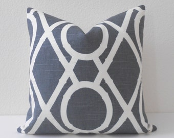 Gray bamboo trellis decorative pillow cover