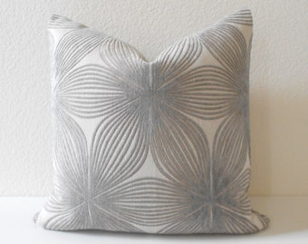 Light gray modern floral chenille decorative pillow cover