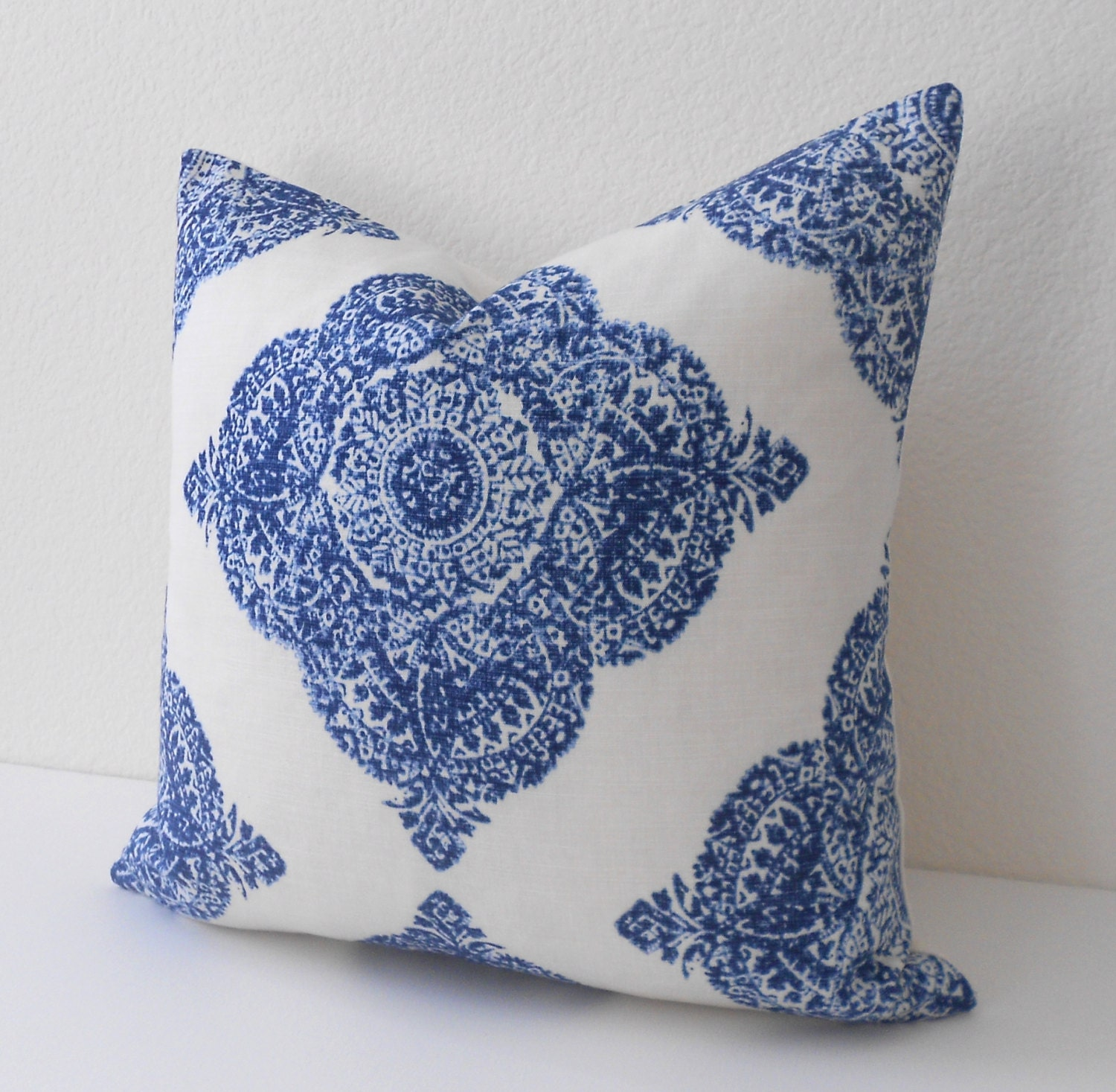 Decorative Pillows Navy : Navy medallion ikat decorative pillow cover