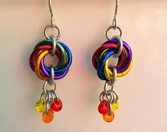 Rainbow Mobius Spiral Earrings - Ready To Ship