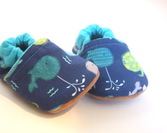 Whale baby Booties whale slippers toddler slippers indoor shoes newborn animal shoes soft sole shoes blue baby shoes ocean shoes