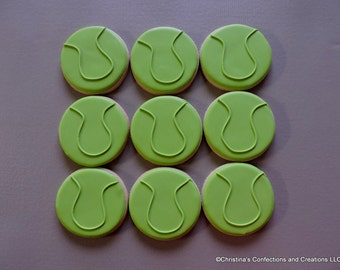 Tennis Ball Hand decorated Sugar Cookies (#2376)
