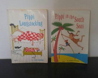 Vintage Pippi Longstocking Books Bundle - 2 Books