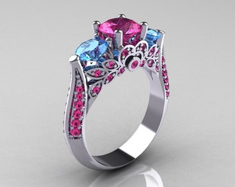 Classic 10K White Gold Three Stone Blue Topaz Pink Sapphire Solitaire Ring R200-10KWGBTPS