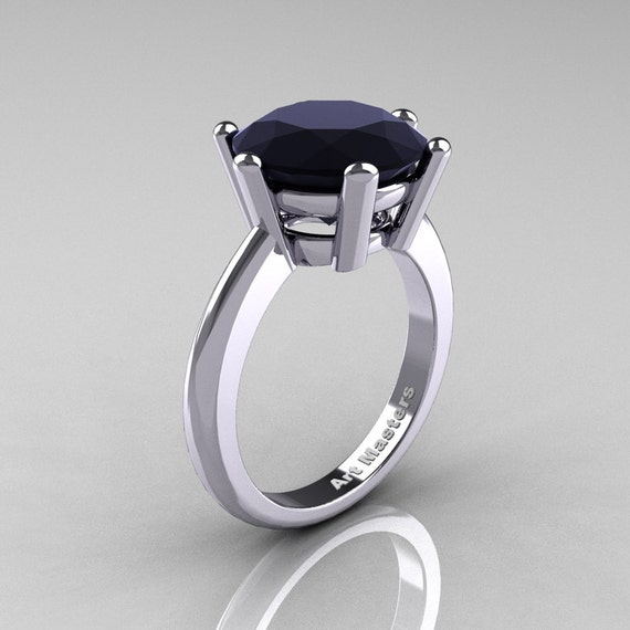 Classic Russian Bridal 10K White Gold 5.0 Carat Black Diamond Crown Solitaire Ring RR133-10KWGBD