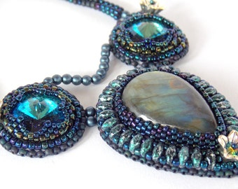 Free Shipping , Bead Embroidery, Necklace,  Statement jewelry,   Seed bead necklace , Labradorite gemstone,  Swarovski,Silver Royal blue