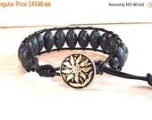 Clearance Sale Azurite Malachite Gemstones - Navy Leather Cord Bracelet - Daisy Button Clasp