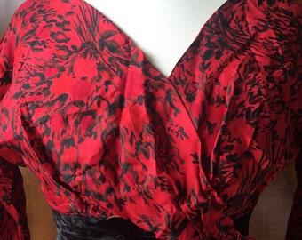 1950s 1960s true vintage red wiggle dress with black velvet waist detail
