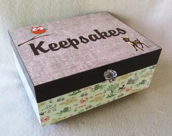 Childs Keepsake Box - Keepsake Box - Baby Memory Box -  Rustic Keepsake Box - Medium Keepsake Box - Owl - Deer - Gift