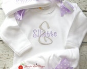 Newborn girl take home outfit, Personalized Girls Coming Home Outfit, grey and lavender,   Layette Gown, or onepiece bodysuit and Hat Set