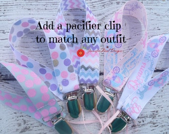 Girls Pacifier Clip, pacifier holder, princess pacifier clip, binky clip, pacifier leash, universal fit, nuk, soothie, pink lavender grey
