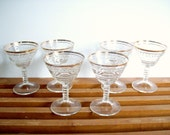 Vintage Gold Rimmed Cocktail Glasses, Stemware, Set of 6, Mid-Century Glassware