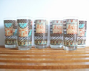 Vintage Egyptian Cocktail Glasses, Tumblers, Retro Barware, Egyptian Revival, Mid-Century Glassware, Set of 6