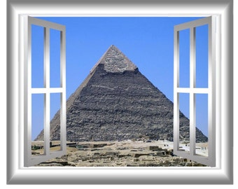 Pyramid at Giza 3D Window Decals Egypt Wall Art Window Frame View 3D Wall Mural GJ100