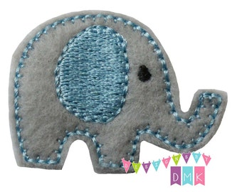 Baby Elephant on Light Blue on Grey Felt Embroidered Embellishment Clippie Cover SET of 4