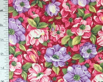 Pink and Purple Primrose fabric by the yard by Fabri Quilt