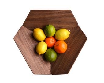 HEXAGON FRUIT BOWL:  Walnut / Birch wood reversable mid-century modern style flat pack basket
