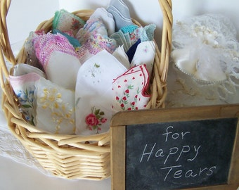 RESERVED for LINDA Happy Tears Wedding Favors Vintage Handkerchiefs Shower Invites Thank You Gifts, White, Lace, Pastels Lot of 30
