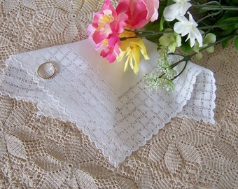 Gift for a Bride Vintage Lace Wedding Handkerchief for a Shower Gift Something Old Hanky with Hand Made Lace in Off-white