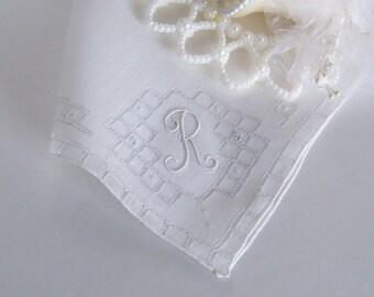 Wedding Hanky Monogrammed R in Creamy White with Handmade Embroidery, Something Old Wedding Shower Gift Vintage Wedding Handkerchief