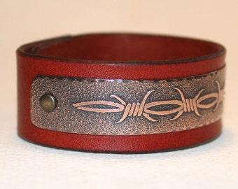 Barbed wire - mens leather bracelet, copper, metal bracelet (vegetable tanned leather)