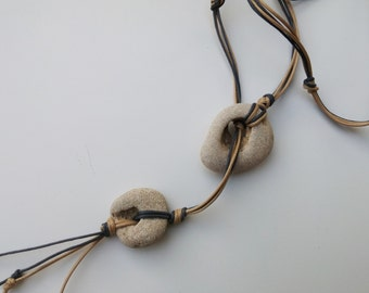 Long Cord Lariat Necklace. Natural Hag Stone Necklace. Beach Rock Holey Stones. Organic Necklace. Metaphysical Stone Zen Yoga Jewelry.