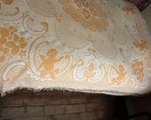 Antique French bedspread throw coverlet bed spread orange yellow, ROMANTIC cherubs, angels, putti, roses w fringes vintage French bed linens