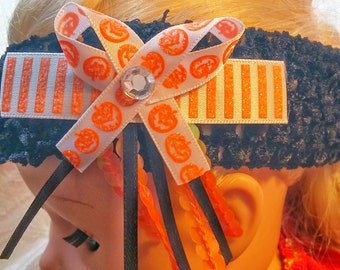 Pumpkin Hair Bow and Hair Band