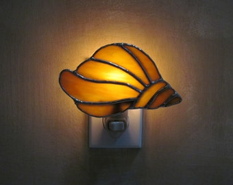 Conch Shell Night Light in an Amber, Red, Blue and Swirl Opalescent Glass- Handcrafted Authentic Stained Glass - Unique Gift Idea