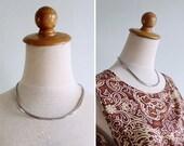 20% CNY SALE - Vintage 80's Modernist Silver Bib Choker Necklace