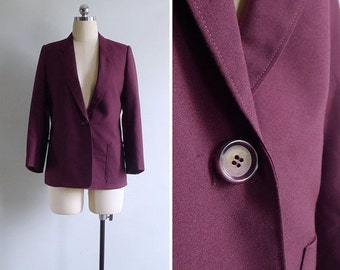 20% CNY SALE - Vintage 80's Preppy Boyfriend Jacket Wine Red Blazer S or M