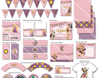 Tangled Party Decorations, Tangled Birthday Party Package,  Tangled Printable Party Pack, Rapunzel Party Decorations