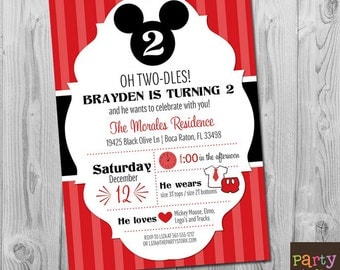 Mickey Mouse Invitation, Mickey Mouse Birthday Invitation, Oh Twodles Invitation, Mickey 2nd Birthday, Mickey Mouse Invitation Printable
