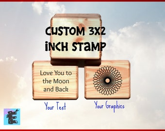 Custom 3x2 Rubber Stamp, Artwork Stamp, Stamp Logo, Company Stamp, Business Stamp, Text Only Stamp 3x2 inches Large Handmade Mount C016