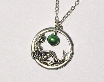 Sale...Mermaid Necklace Beach Jewelry Friendship Gift Emerald Bridesmaid Peridot