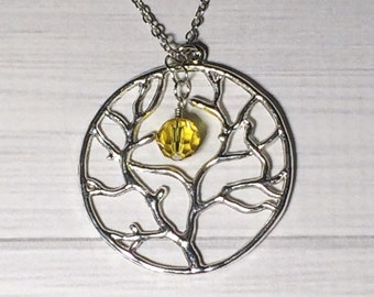 Tree of Life Necklace Topaz Crystal Christmas Gift Circle Tree Necklace Mom Girlfriend Sister Women's Gift