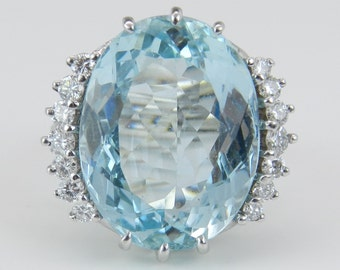 Antique Aquamarine Ring Diamond Ring Vintage Ring Aqua Ring 14K White Gold