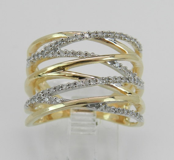Wide Diamond Crossover Ring Multi Row Band Yellow Gold Modern Ring Size 7