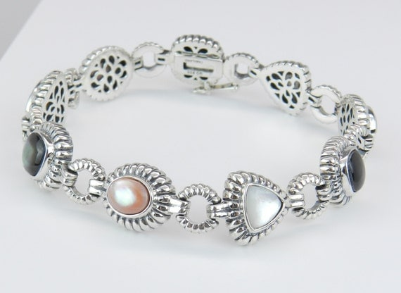 Mother of Pearl Multi Color Sterling Silver Link Bracelet White Pink