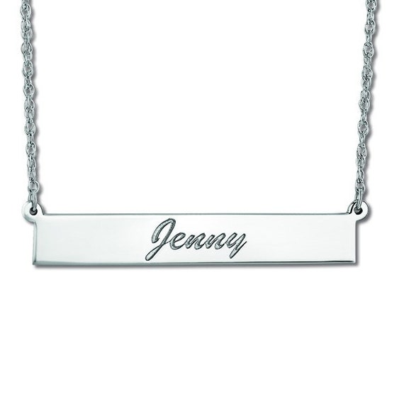 Bar Pendant Necklace Name Plate Name Tag Personalized Jewelry Sterling Silver