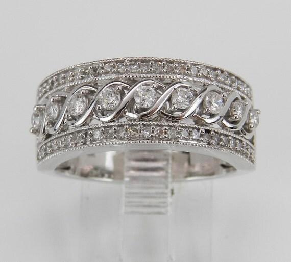 Diamond Anniversary Ring Wedding Band Unique Size 7 White Gold Fashion Style