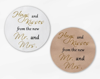 Hugs and Kisses From the New Mr. and Mrs. Wedding Favor Stickers - Gold and Black Custom Round Labels (2015)