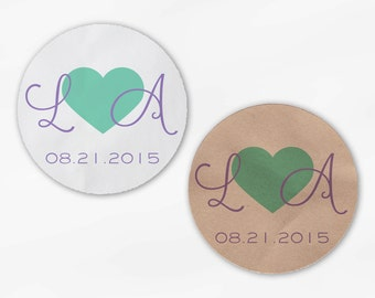 Initials and Heart Wedding Favor Stickers - Lavender and Mint Custom Candy Buffet White, Kraft Round Labels for Bag Seals, Envelopes (2021)