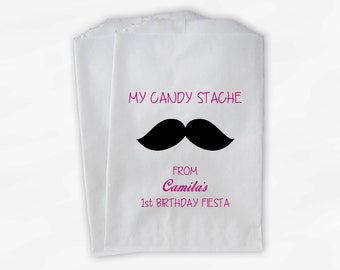 My Stache Mustache Candy Buffet Favor Bags - Hot Pink Candy Stash Custom Personalized Treat Bags for Girls Birthday - 25 Paper Bags (0066)