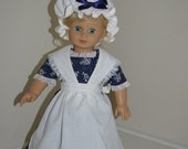 Colonial gown with apron, mob cap, shawl, and pantaloons for 18 inch doll.