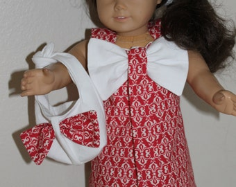 Red and white dress with purse for 18 inch doll